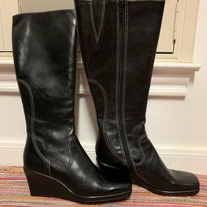 Gianni Bini Leather Wedge Tall Black Boots 6 NWT